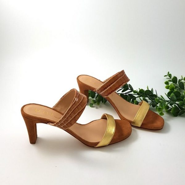 Chaussures-Traces-Mule-double-bande-gold-marron-Manto