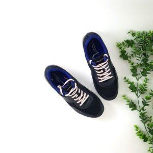 chaussures-traces-Baskets-tissu-cuir-marine
