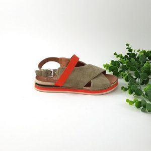chaussures-traces-Sandales-kaki-orange-cuir-Mjus
