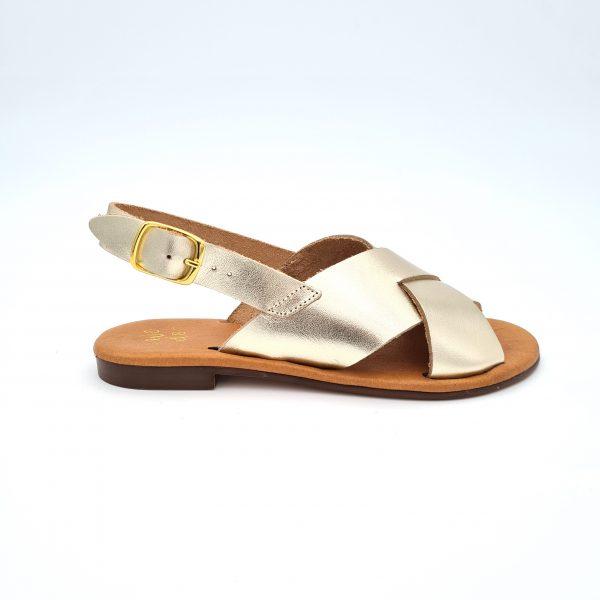chaussures-traces-Sandales-WEDO-Cuir-CO44816-Beige-métallisé